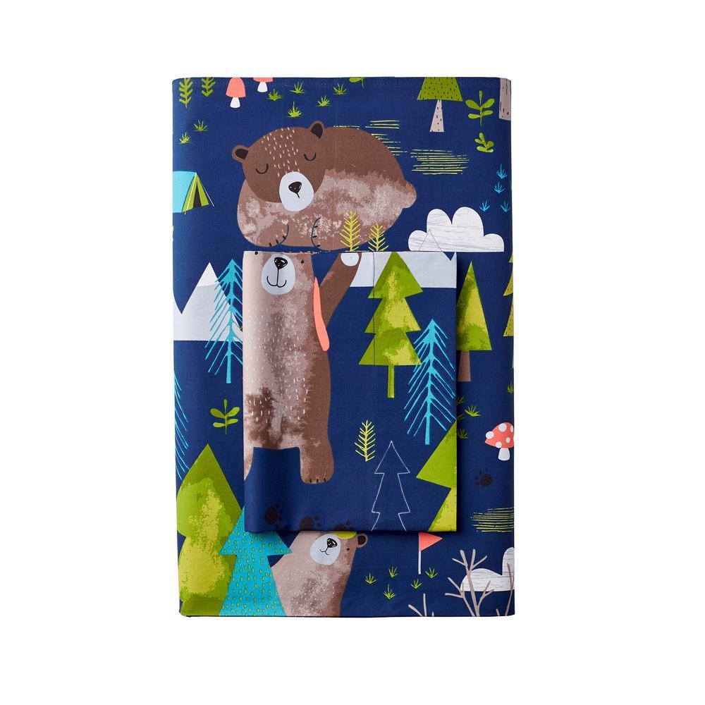 Bear Camp 200-Thread Count Cotton Percale Flat Sheet