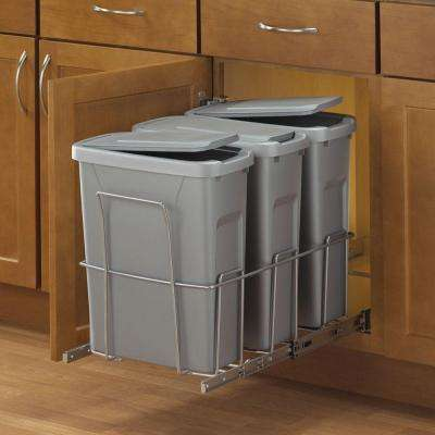 18 in. H x 14 in. W x 23 in. D Steel In-Cabinet 20 Qt. Triple Pull Out Trash Can in Platinum