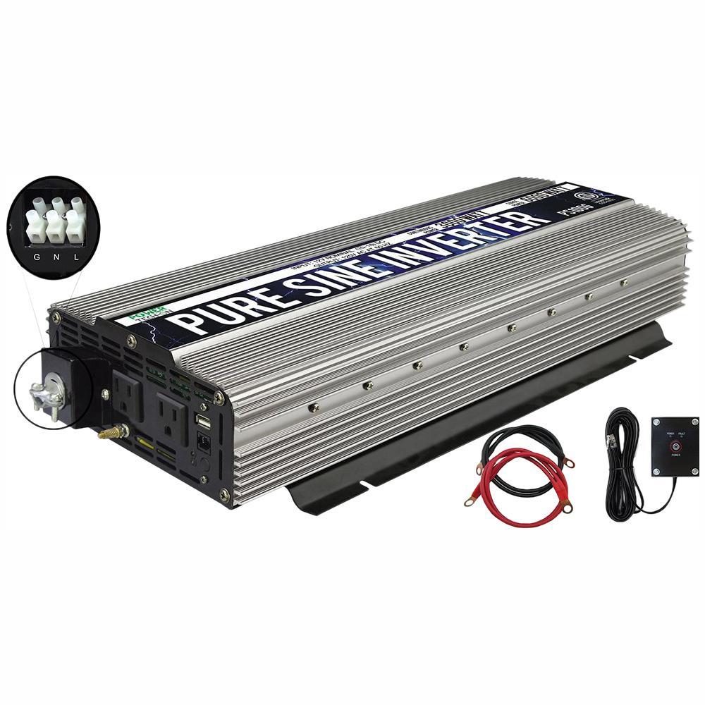 GoWISE USA 3,000-Watt Continuous/6,000-Watt Peak Pure Sine Wave Inverter  with AC Hardwire Terminal Block