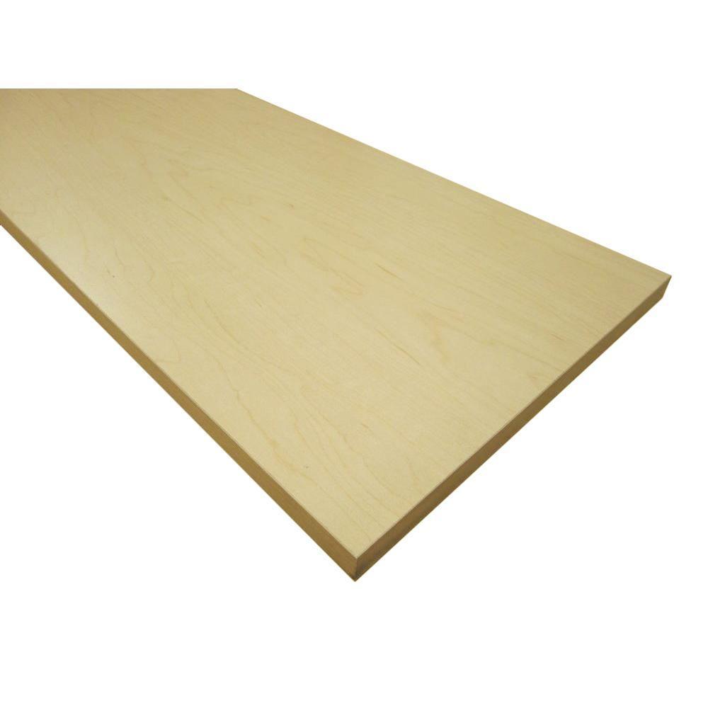 null 3/4 in. x 12 in. x 48 in. Hardrock Maple Thermally-Fused Melamine Shelf