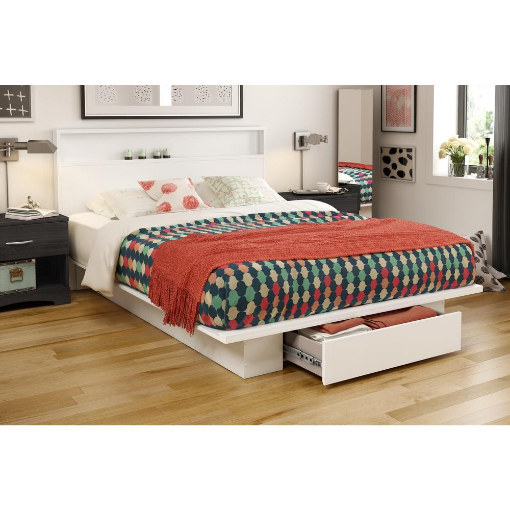south shore holland pure white full or queen platform bed frame 3340a2 the home depot. Black Bedroom Furniture Sets. Home Design Ideas