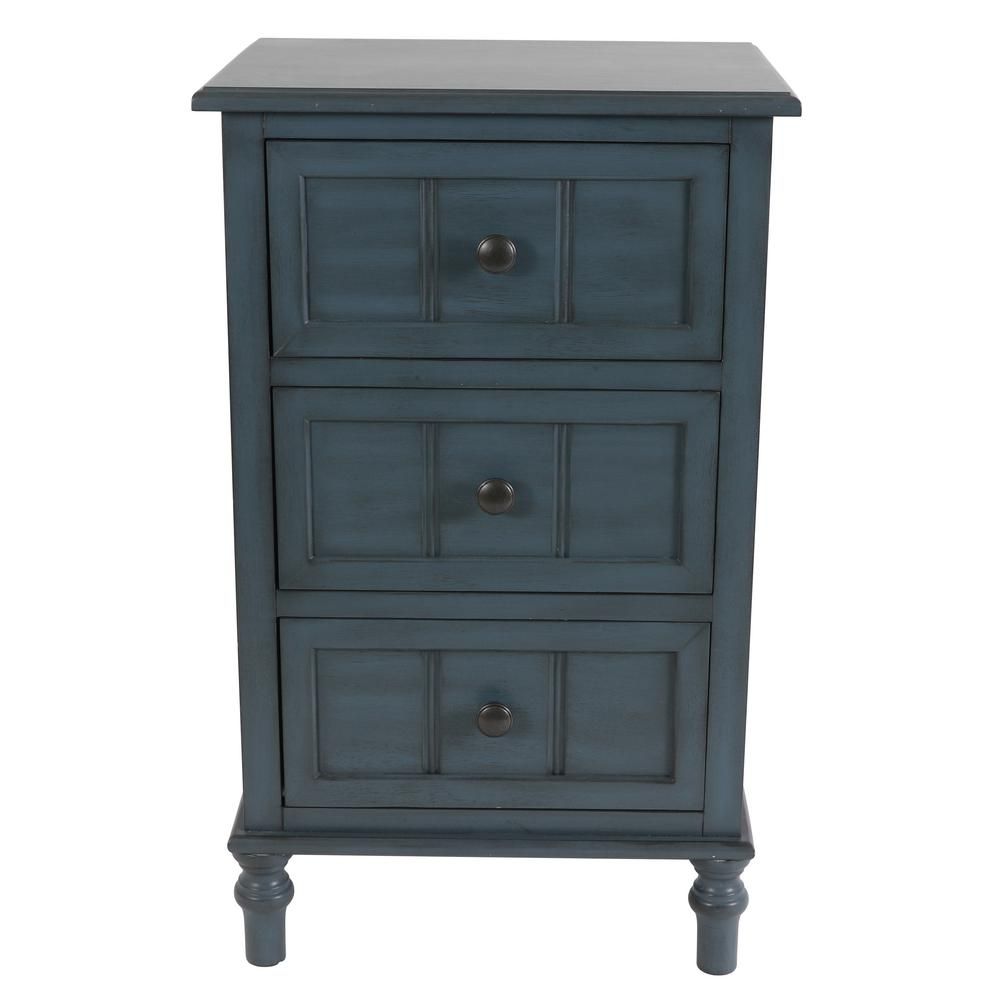 Decor Therapy Antique Navy Blue 3 Drawer Chest Fr8659