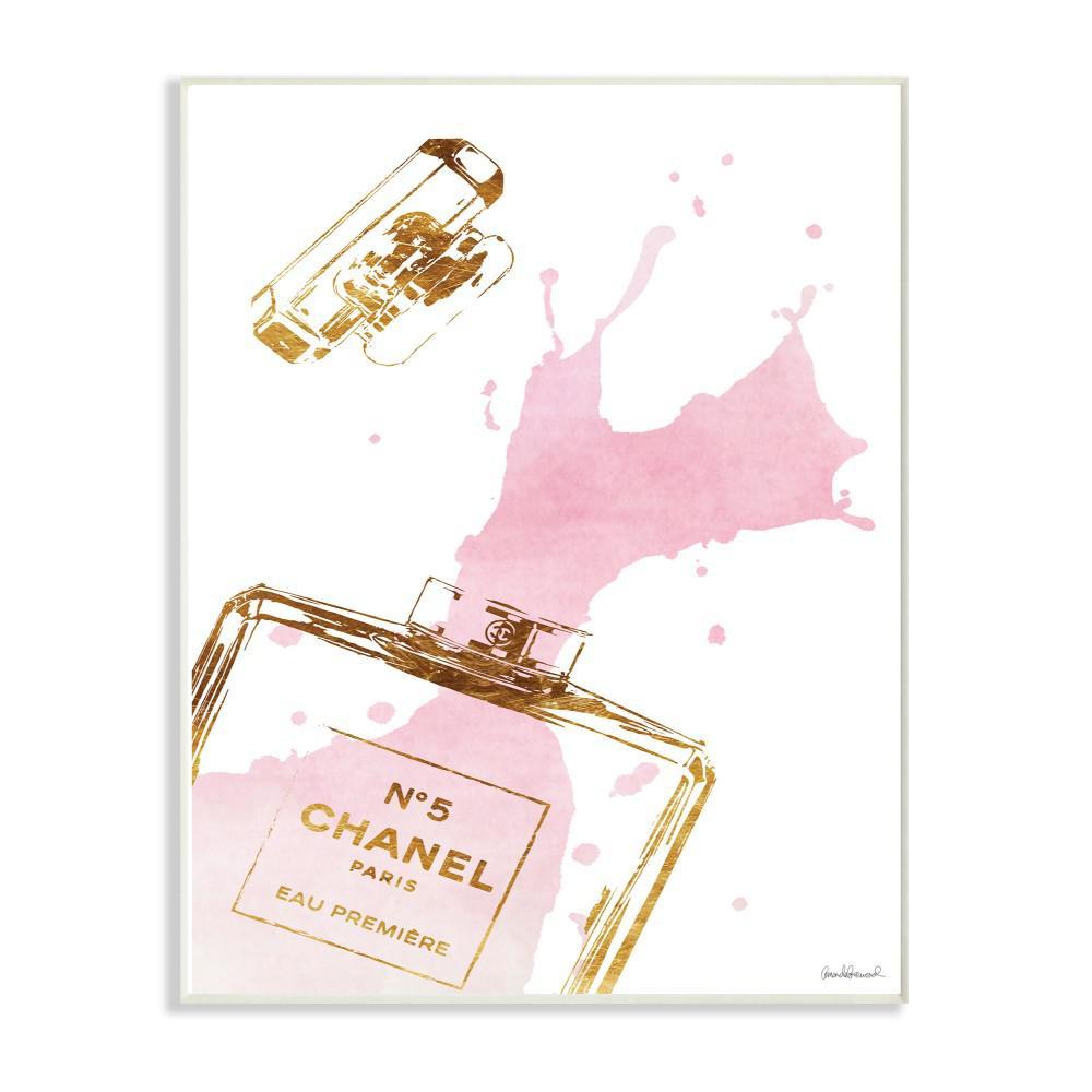 "12.5 in. x 18.5 in. ""Glam Perfume Bottle Splash Pink Gold"" by Amanda Greenwood Printed Wood Wall Art"