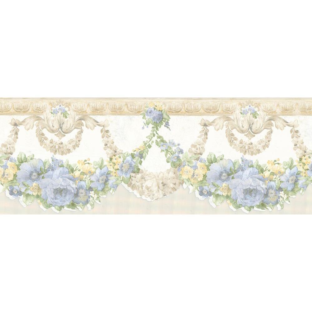 Marianne Light Blue Floral Bough Wallpaper Border