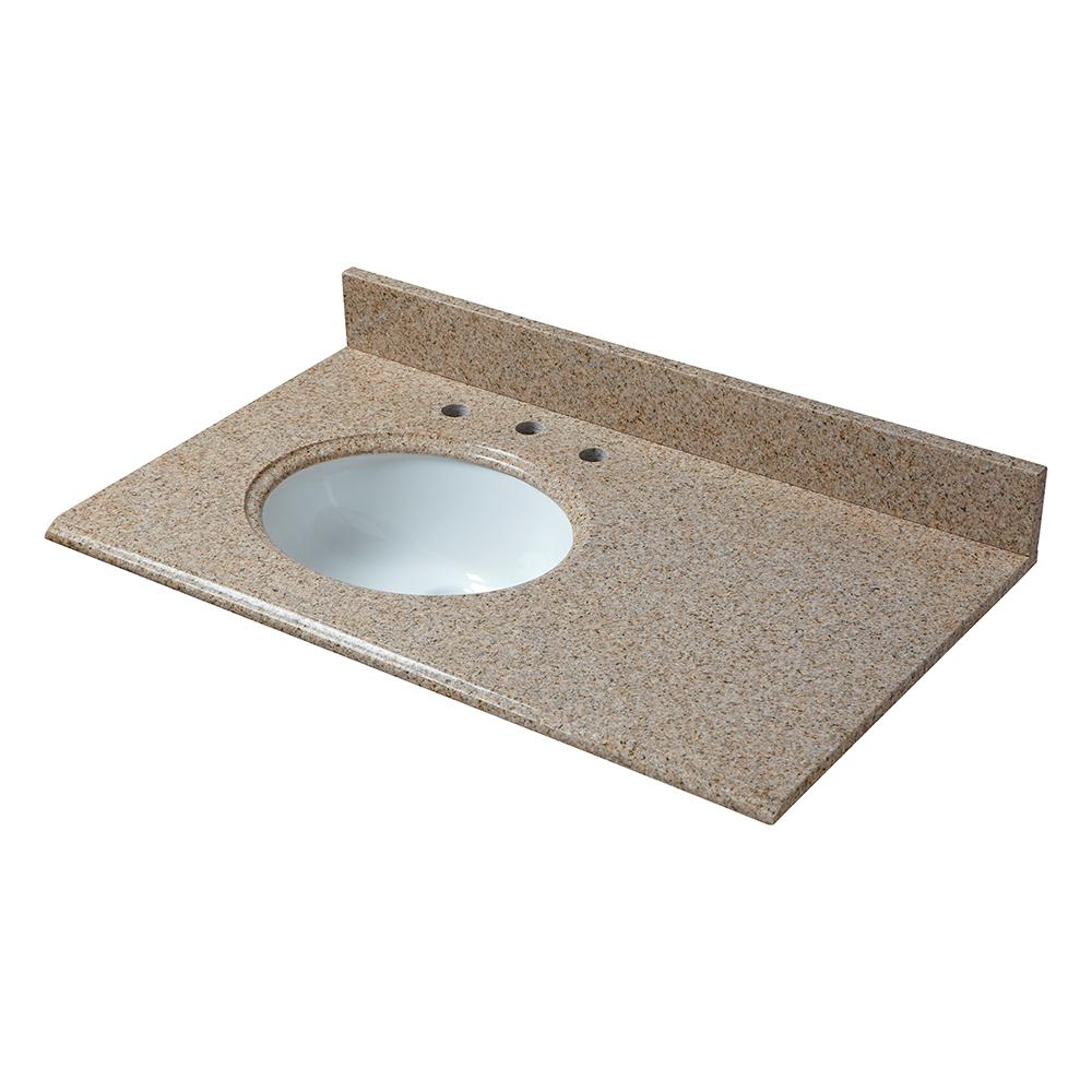 Pegasus 37 in. W Granite Vanity Top in Beige with Offset Left Bowl and 8 in. Faucet Spread