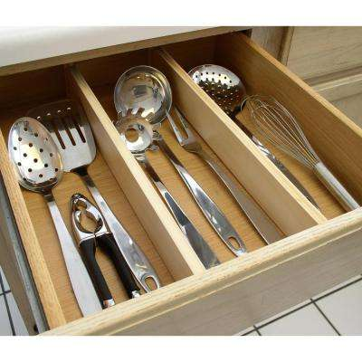 Natural Wood Expandable Kitchen Drawer Dividers, 2-Piece Set