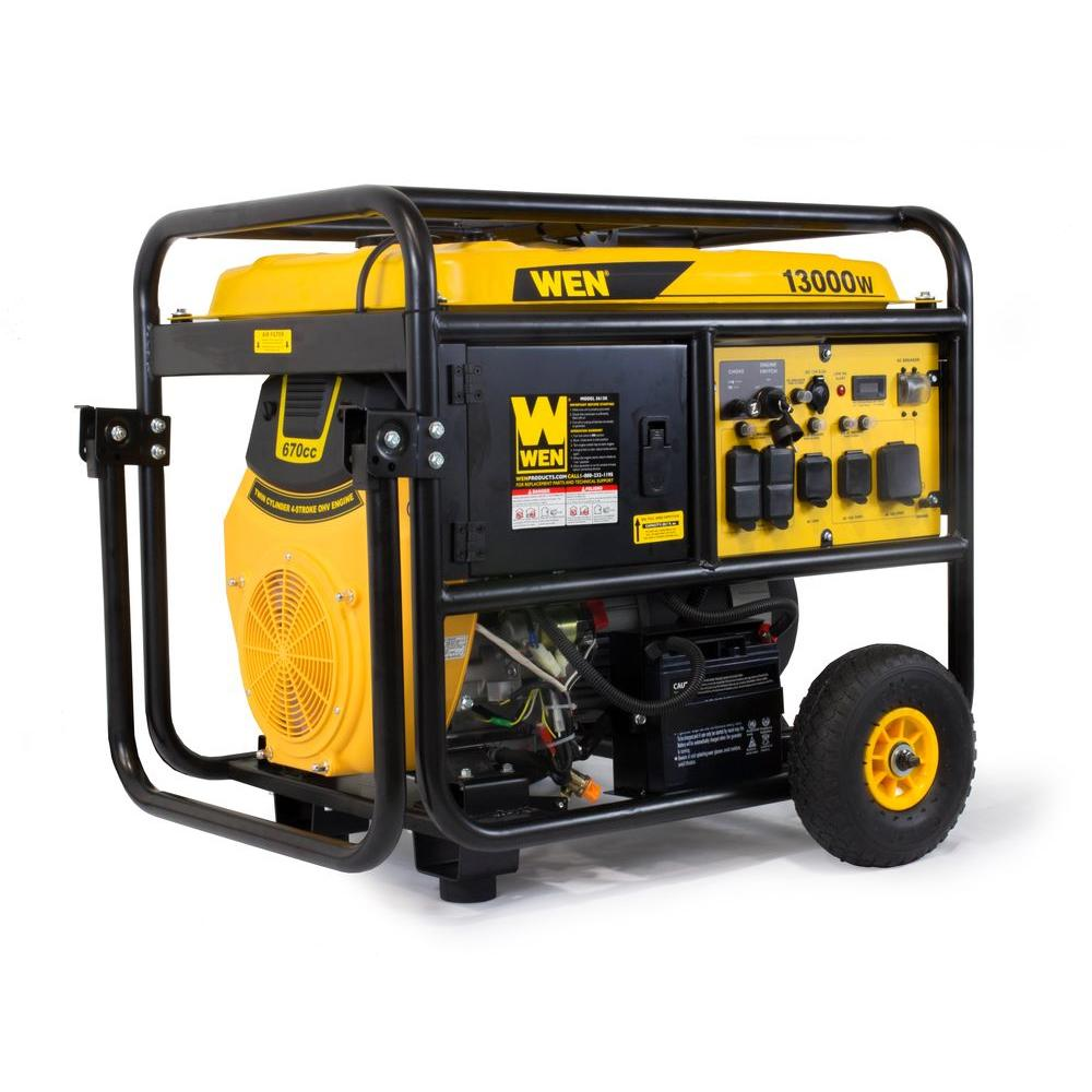 wen 13000watt portable standby generator with wheel kit and electric start5613k the home depot