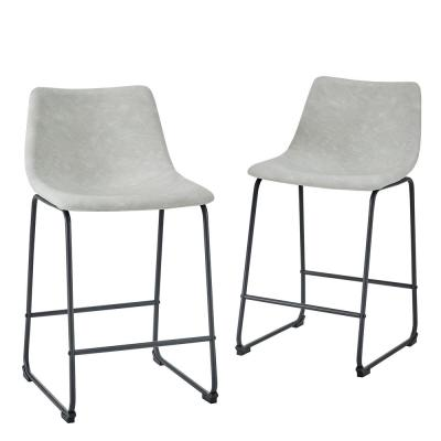 24 in. Grey Faux Leather Counter Stool (Set of 2)