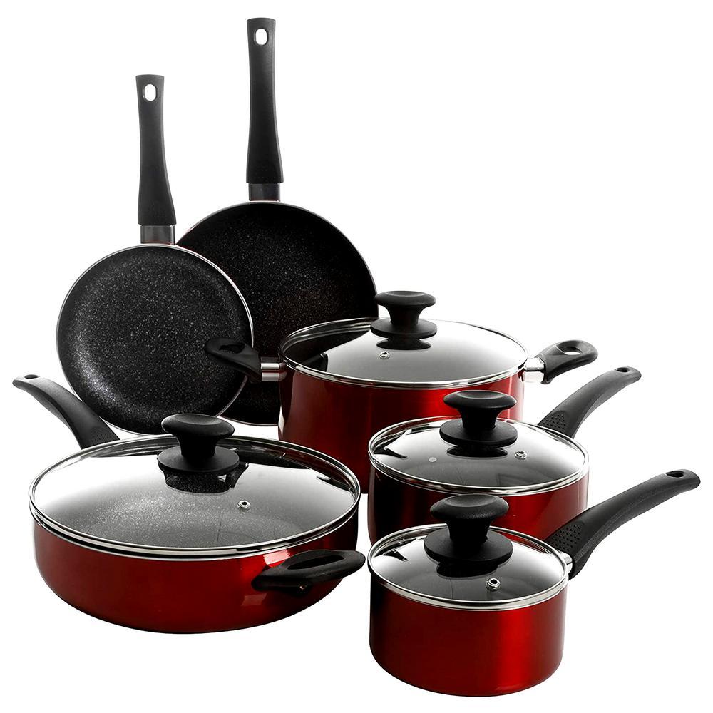 10-Piece Red Aluminum Nonstick Gas Top Cookware Set with Lids