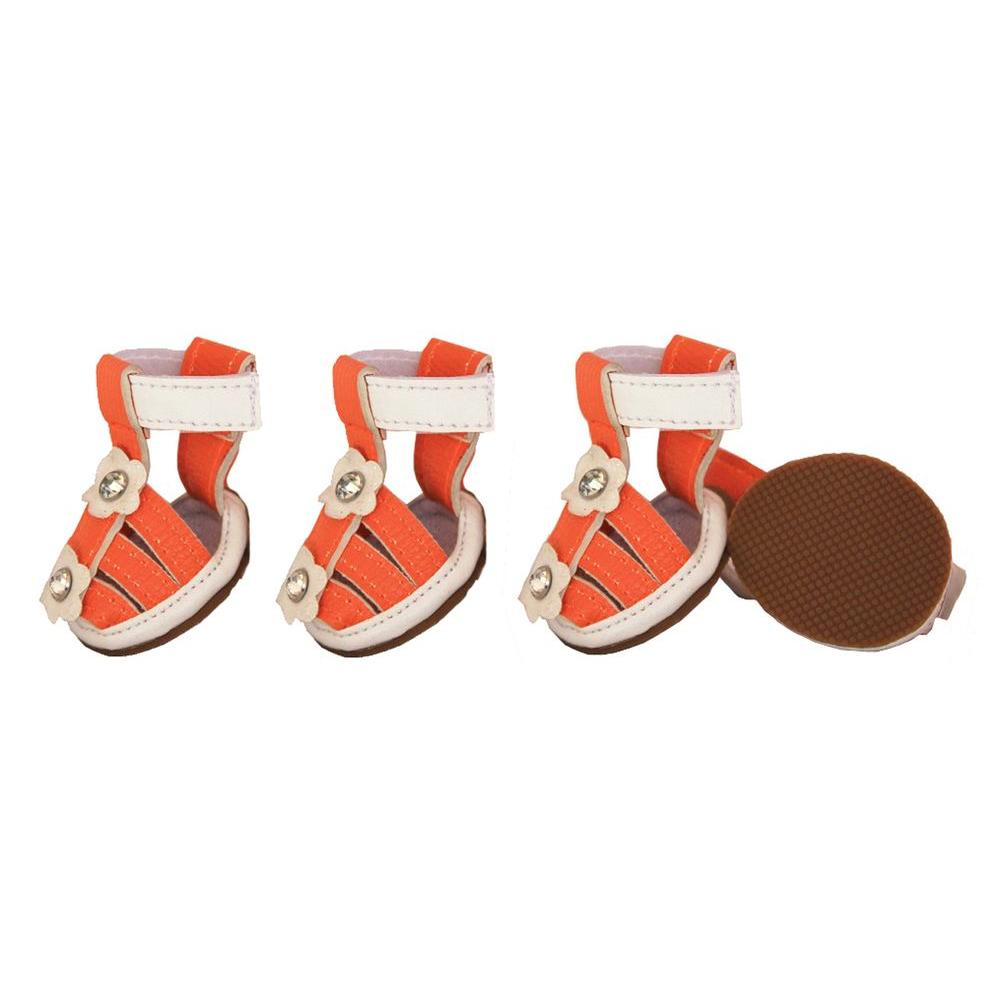 PET LIFE X-Small Sun Orange Buckle-Supportive PVC Waterproof Dog Sandals Shoes (Set of 4)