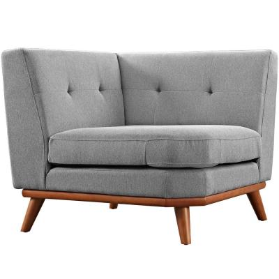 Engage Expectation Gray Polyester Sectional Corner Chair with Tapered Wood Legs