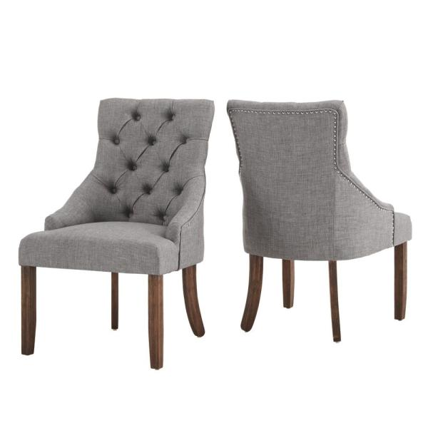 Grey Linen Curved Back Tufted Dining Chair (Set of 2)