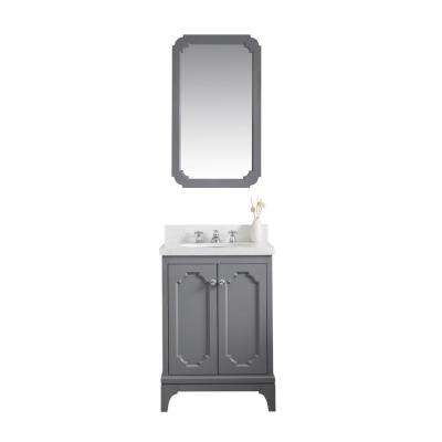Queen 24 in. Bath Vanity in Cashmere Grey with Quartz Carrara Vanity Top with Ceramics White Basins