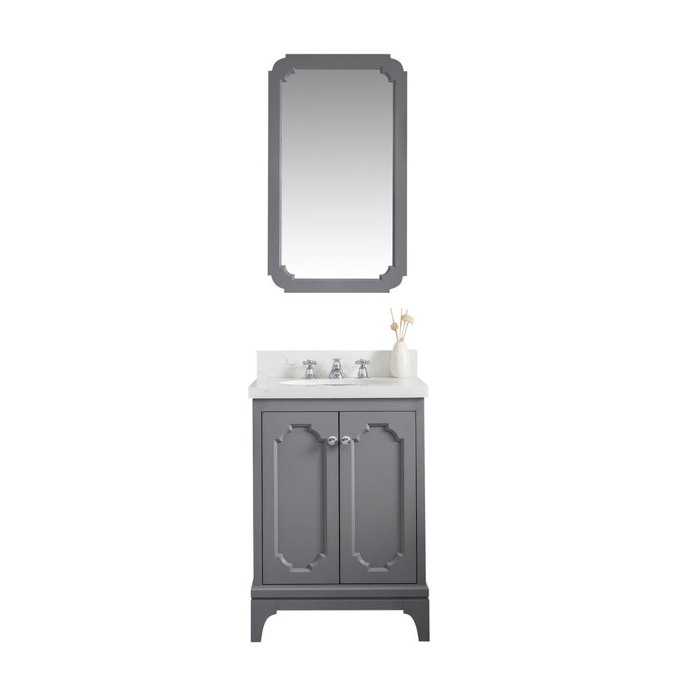 Water Creation Queen 24 in. Bath Vanity in Cashmere Grey with Quartz Carrara Vanity Top with Ceramics White Basins and Faucet
