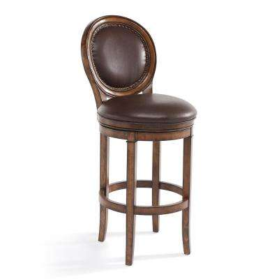 Greece 30 in. Kahlua Faux Leather and Chestnut Wood Finish Swivel Barstool