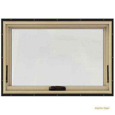 36 in. x 24 in. W-2500 Series Bronze Painted Clad Wood Awning Window w/ Natural Interior and Screen