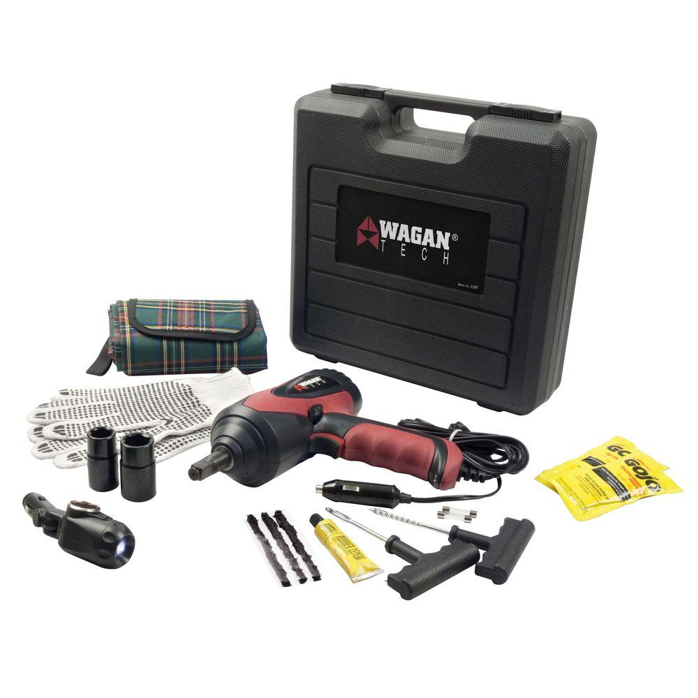 Wagan Tech 12-Volt Auto Impact Wrench Kit with Tire Patch Kit