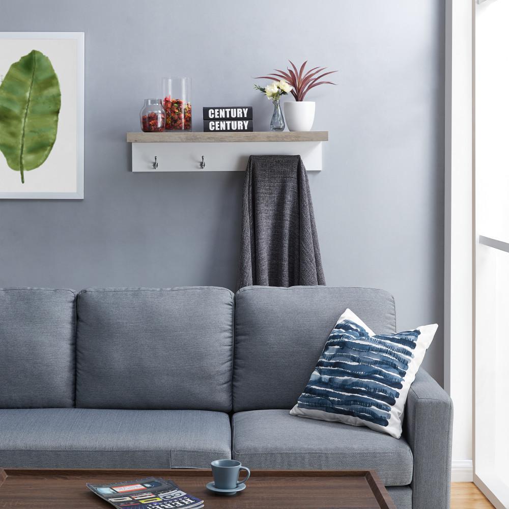 Grey Wall Mount Coat Rack with Shelf