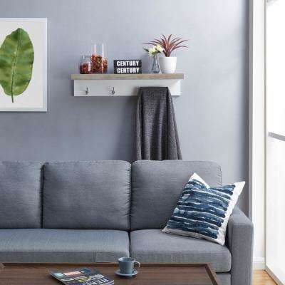 Grey Wall Mount Coat Rack with Shelf