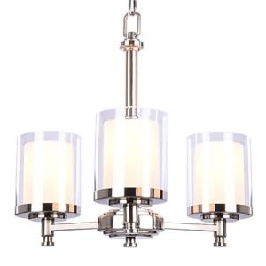 Hampton Bay Burbank 3-Light Brushed Nickel Chandelier with Dual Glass Shades by Hampton Bay