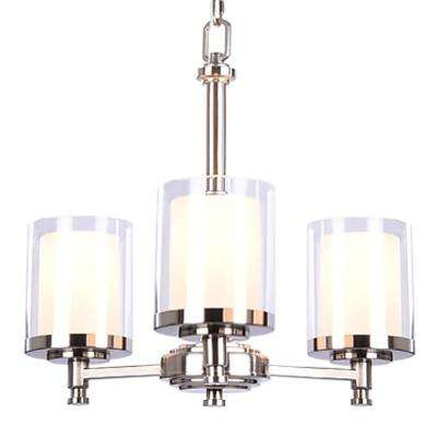 Burbank 3-Light Brushed Nickel Chandelier with Dual Glass Shades