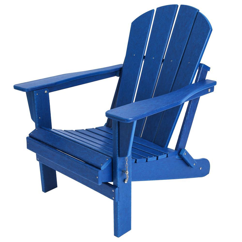 Addison Navy Blue Folding Plastic Outdoor Adirondack Chair