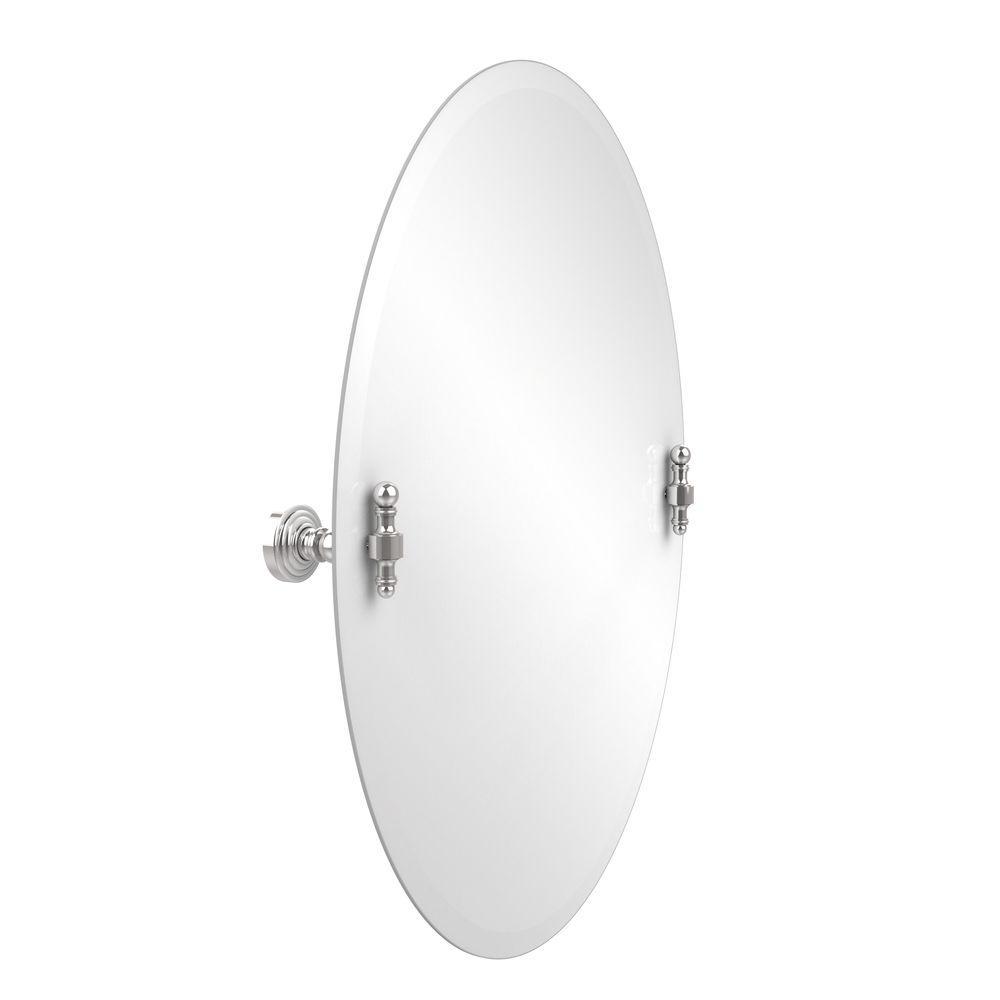 Retro-Wave 21 in. W x 29 in. H Frameless Oval Beveled Edge Bathroom Vanity Mirror in Polished Chrome