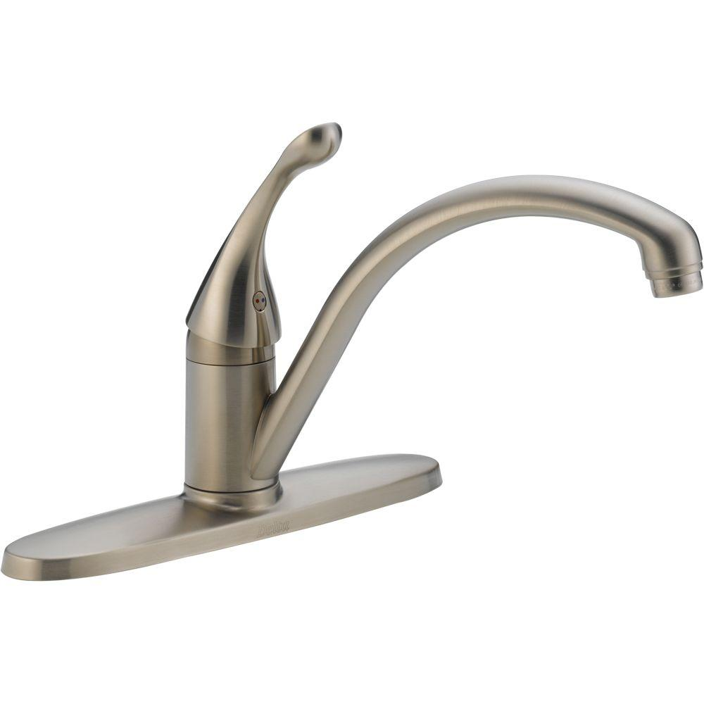 Delta Collins Lever Single-Handle Kitchen Faucet in Stainless Steel ...