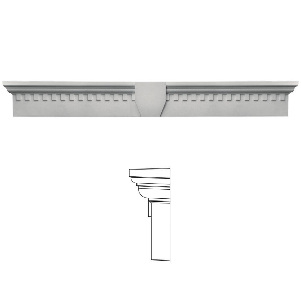 Builders Edge 9 in. x 73 5/8 in. Classic Dentil Window Header with Keystone in 030 Paintable