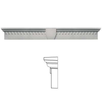9 in. x 73 5/8 in. Classic Dentil Window Header with Keystone in 030 Paintable