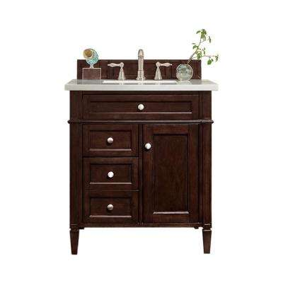 Brittany 30 in. W Single Vanity in Burnished Mahogany with Quartz Vanity Top in Snow White with White Basin
