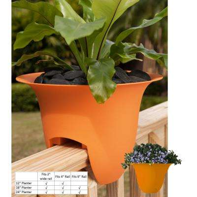 18 x 11 Tequila Sunrise Modica Plastic Deck Rail Planter
