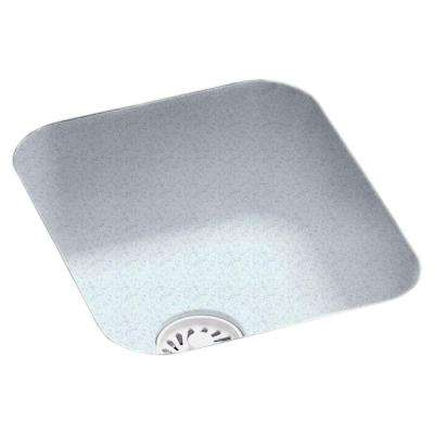 Undermount Solid Surface 13.4 in. Single Bowl Bar Sink in Tahiti Gray