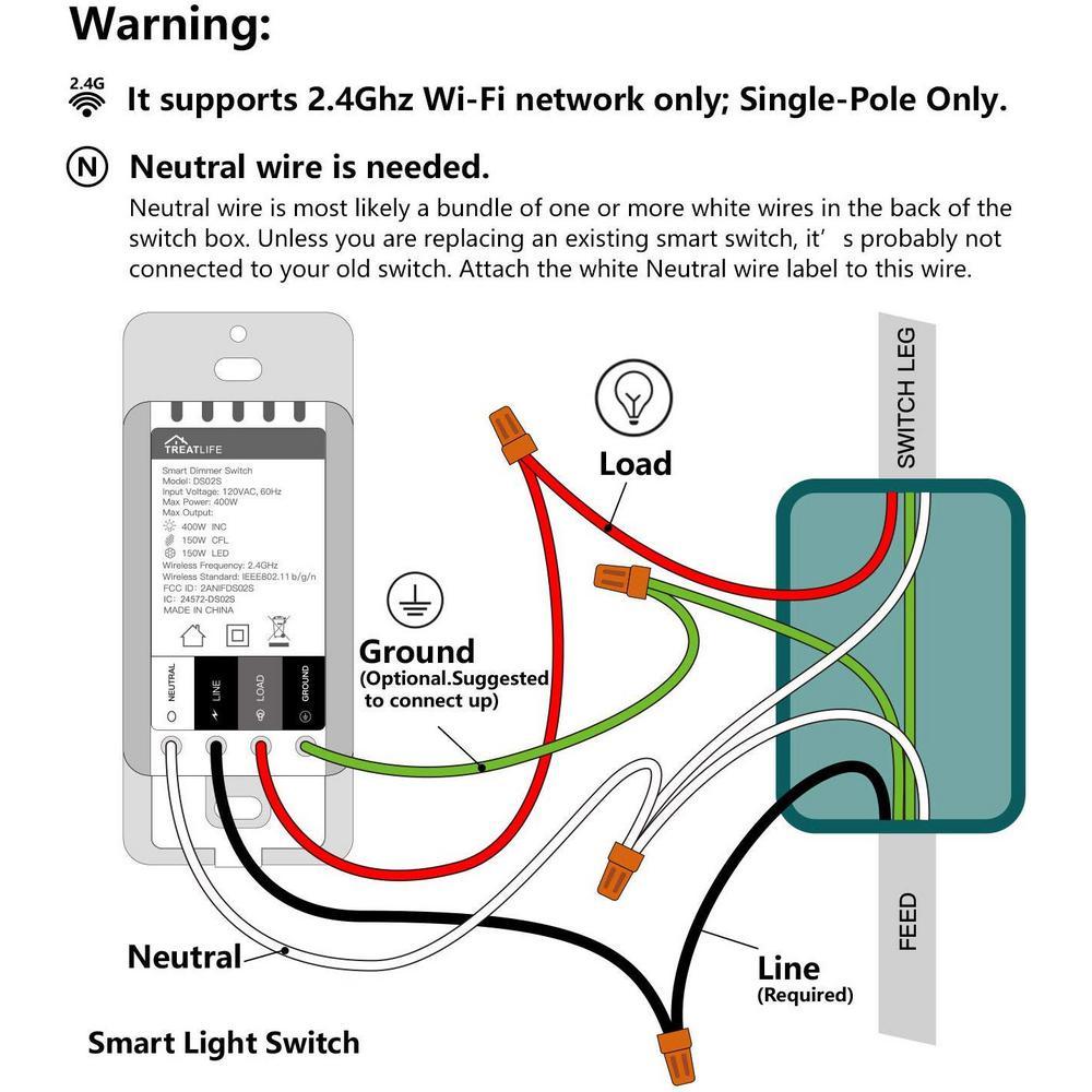treatlife smart wifi light switch works with alexa google