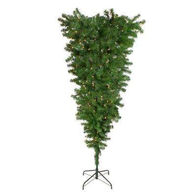 5.5 ft. x 38 in. Pre-Lit Upside Down Spruce Artificial Christmas Tree with Clear Dura Lights