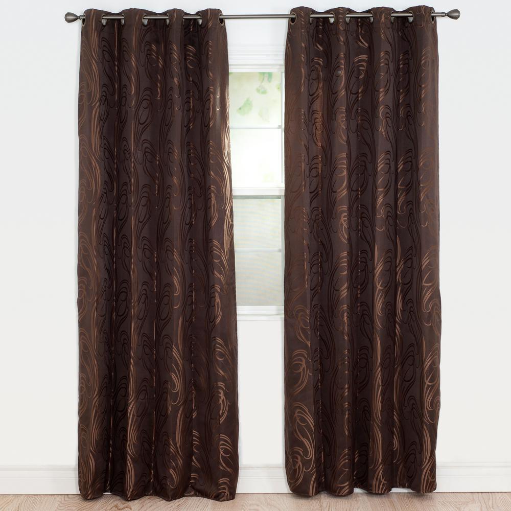 Semi-Opaque Dinah Chocolate Polyester Jacquard Curtain