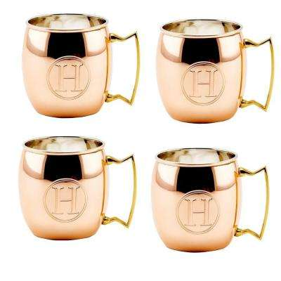 Monogram H 16 oz. Solid Copper Moscow Mule Mugs (Set of 4)