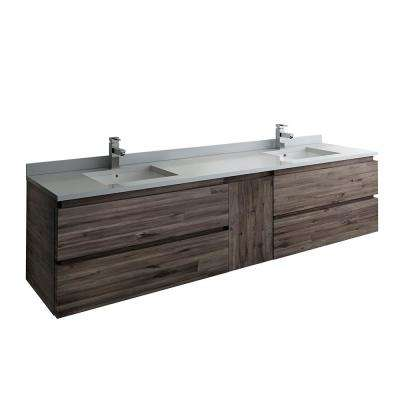 Formosa 82 in. W Modern Double Wall Hung Vanity Cabinet Only in Warm Gray