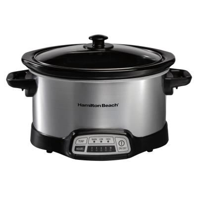 4 Qt. Stainless Steel Slow Cooker with Built in Timer
