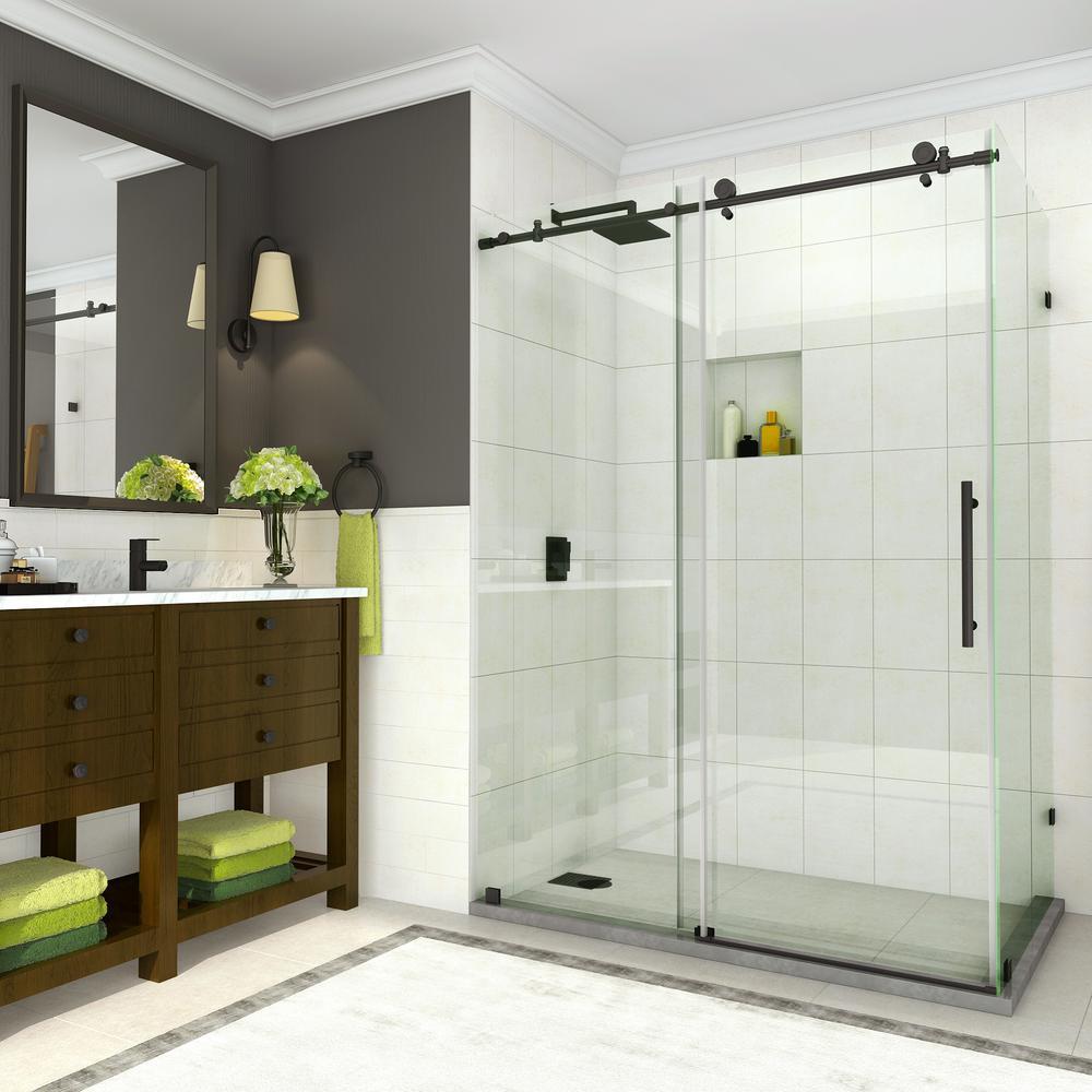 Coraline 56 in. to 60 in. x 33.875 in. x 76 in. Frameless Sliding Shower Door in Matte Black
