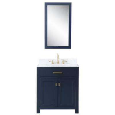 Madison 30 in. Bath Vanity in Monarch Blue with Marble Vanity Top in Carrara White with Ceramic White Basins and Mirror