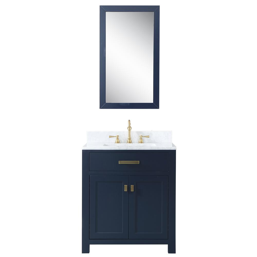 Water Creation Madison 30 In Bath Vanity In Monarch Blue With Marble Vanity Top In Carrara White With Ceramic White Basins And Mirror
