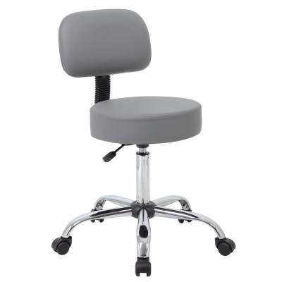Grey Caressoft Medical Stool with Back Cushion