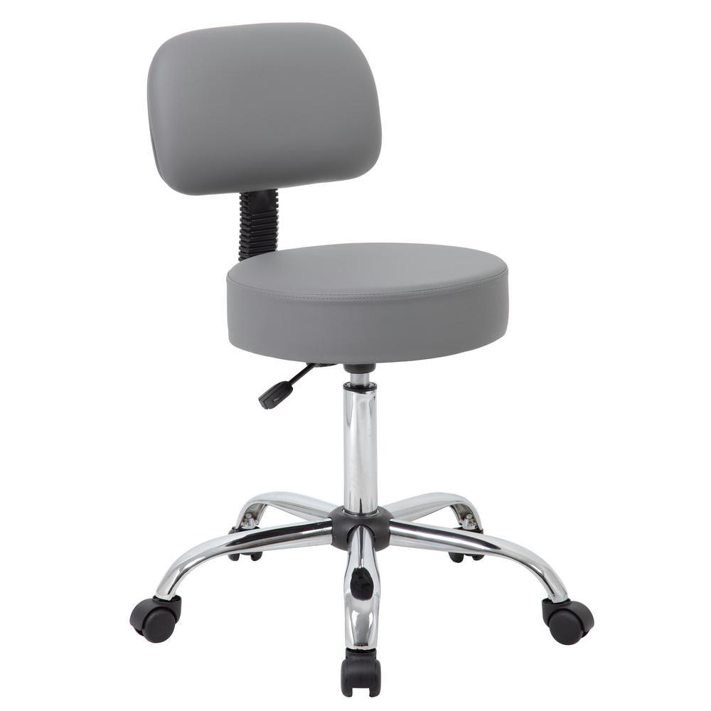 Boss Grey Caressoft Medical Stool with Back Cushion