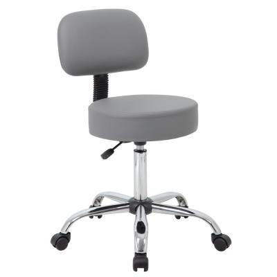 WorkPro Medical Stool with Back Cushion. Grey Caressoft Vinyl. Chrome Finish Base. Pnuematic Lift