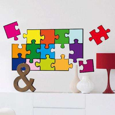 36 in. H x 36 in. D 22-Piece Puzzle Wall Sticker (2-Sheets)