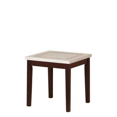 29.5 in. Ivory Knox Faux Marbelized Granite End Table