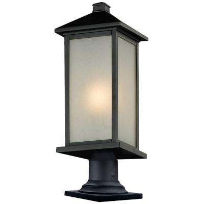 Lawrence 1-Light Black Incandescent Outdoor Pier Mount Light