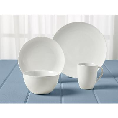 16-Piece Casual White Ceramic Dinnerware Set (Service for 4)