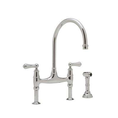 Perrin and Rowe 2-Handle Bridge Kitchen Faucet in Polished Chrome
